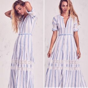 LoveShackFancy Eden Stripe Midi Dress Blue/White 2